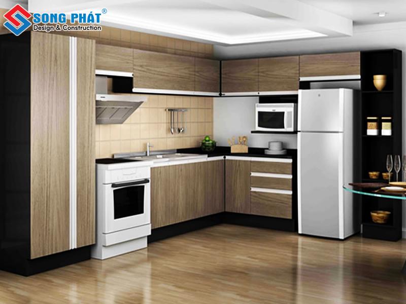 Phòng bếp mang phong cách hiện đại với tủ bếp hình chữ L