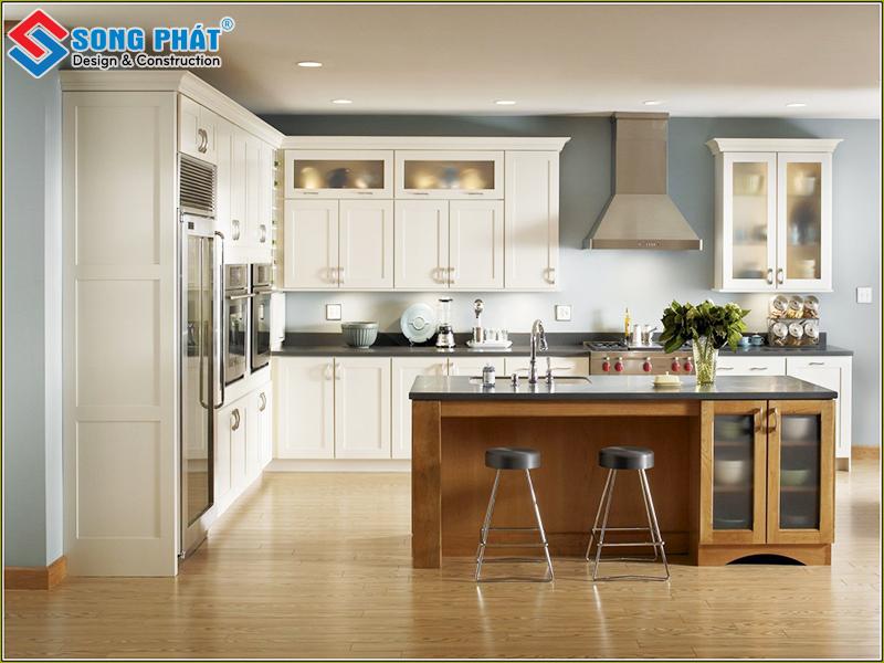 Thiết kế không gian phòng bếp với diện tích rộng rải, thoáng mát