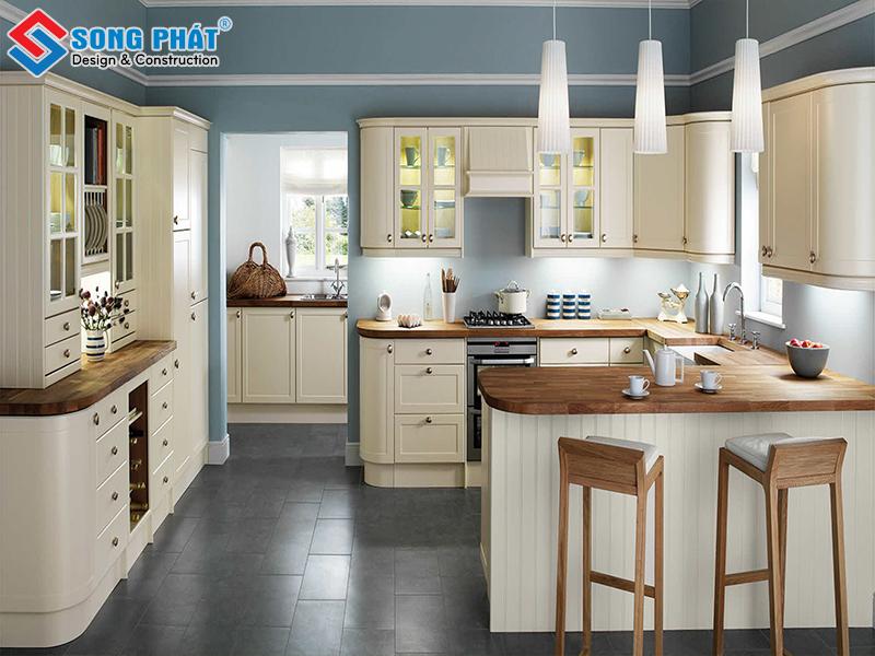 Mẫu thiết kế phòng bếp đẹp với diện tích rộng rải