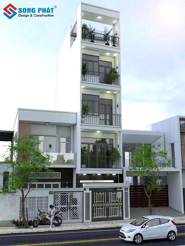 Nhà 5 tầng mặt tiền đẹp mang phong cách hiện đại