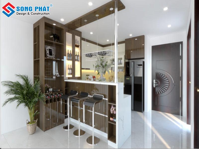 Mẫu thiết kế không gian phòng bếp liền kề phòng khách