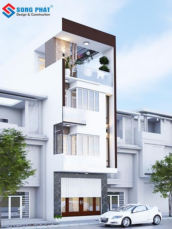 Kiến trúc nhà 5 tầng sang trọng với sân thượng thoáng mát