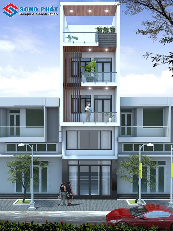 Mẫu nhà phố 5 tầng với thiết kế ấn tượng