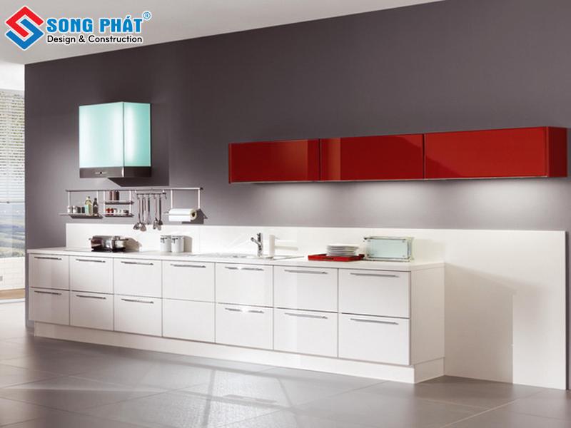 Mẫu tủ bếp chữ I màu trắng phù hợp với mọi nhà