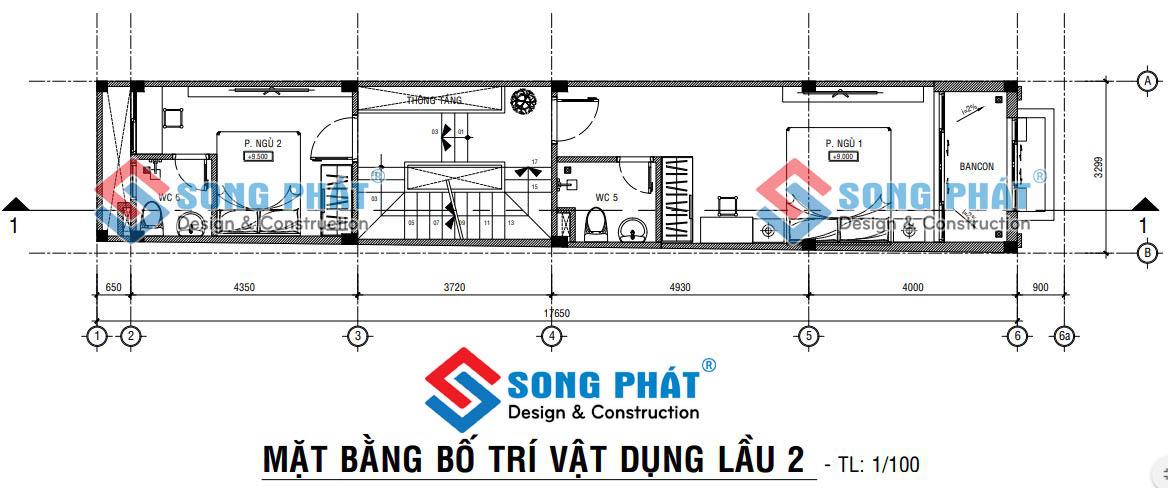 Thiết kế nhà 3x18m.