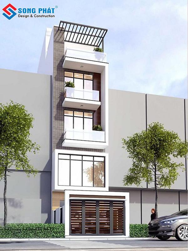 Mẫu nhà 5 tầng mặt phố phong cách hiện đại