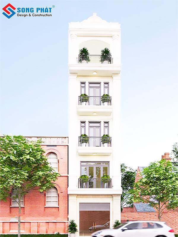 Nhà phố 5 tầng phong cách tân cổ điển