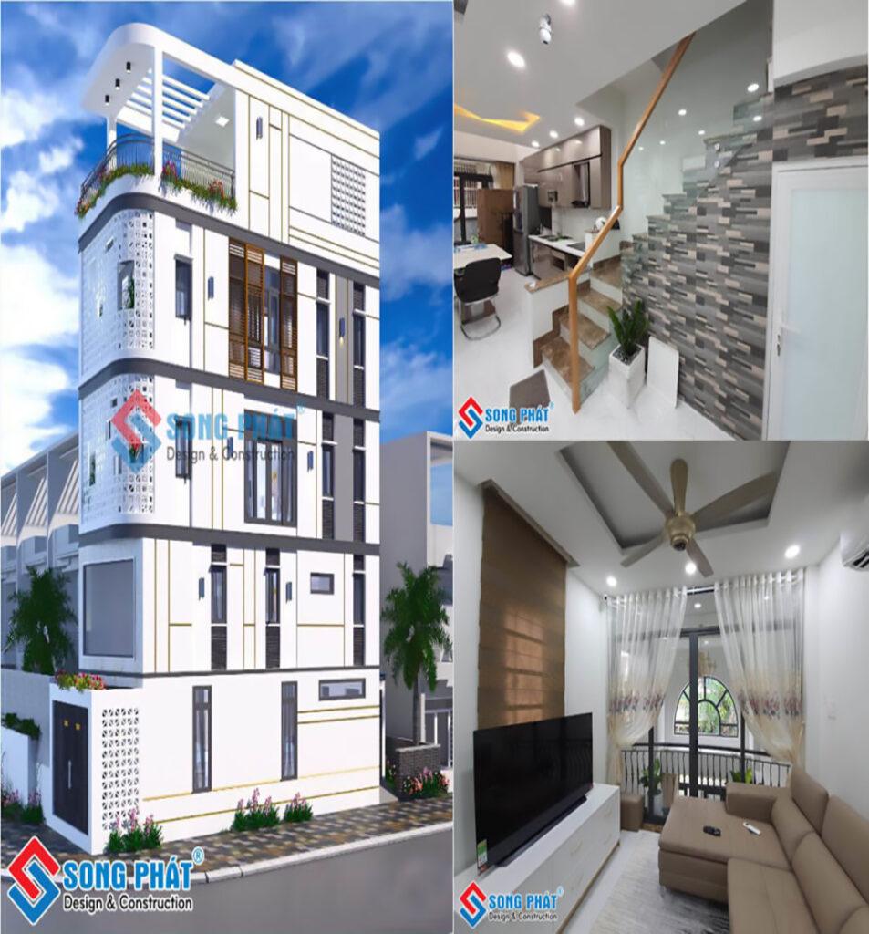 Thi công hoàn thiện nhà 4 tầng 2 mặt tiền gạch bông gió tại Phú Nhuận.
