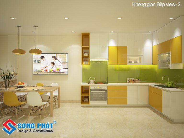Thiết kế bếp với nhiều màu sắc nổi bật, đẹp mắt.