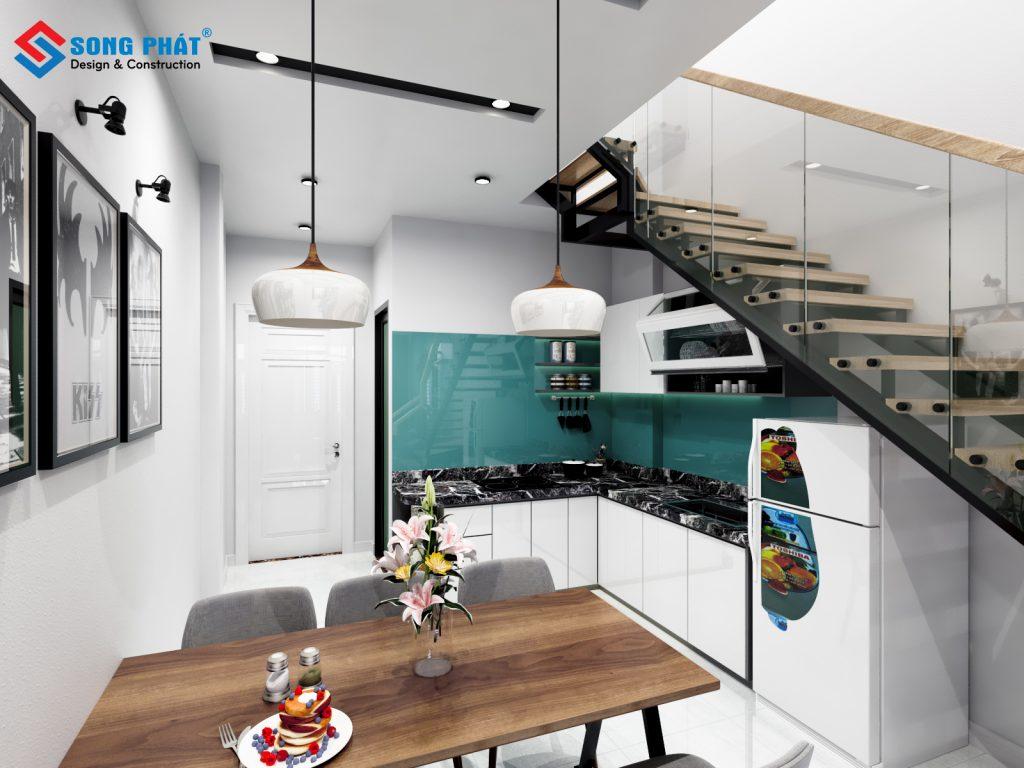 Mẫu thiết kế bếp tone trắng tạo cảm giác sang trọng cho khu bếp.