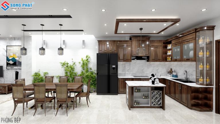 Thiết kế nội thất phòng bếp sử dụng gỗ tự nhiên.