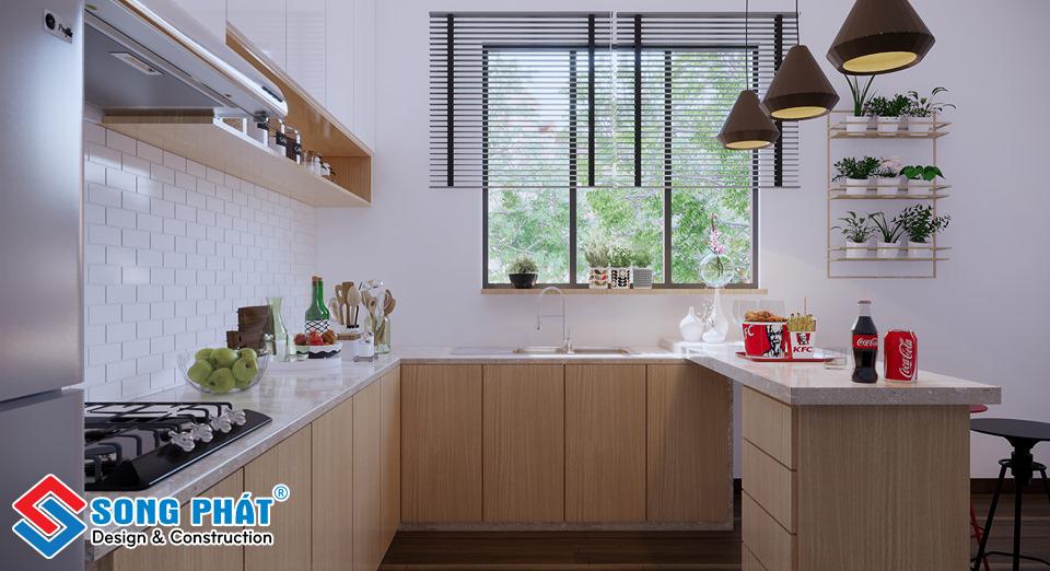 Thiết kế không gian mở với cánh của sổ thông thoáng tiết kiệm chi phí lắp máy hút khói, giải phóng nhanh mùi thức ăn nhanh chóng.