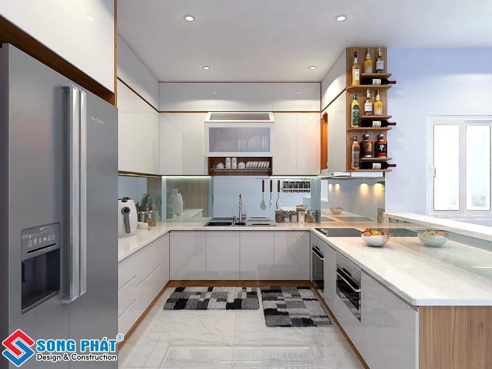 Mẫu không gian phòng bếp với màu sắc tươi sáng
