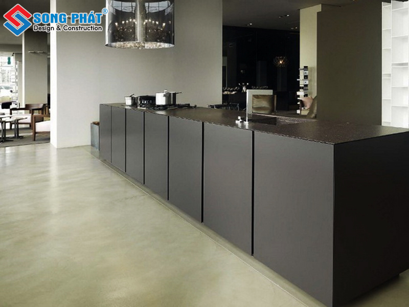 Tủ bếp cho không gian phòng bếp rộng rải từ gỗ công nghiệp