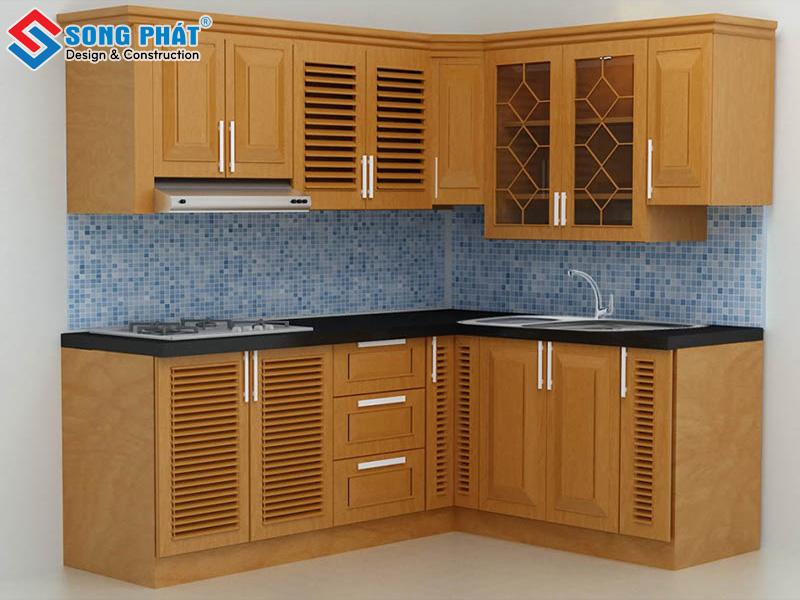 Tủ bếp chữ L màu nâu làm bằng gỗ xoan đào tiện lợi