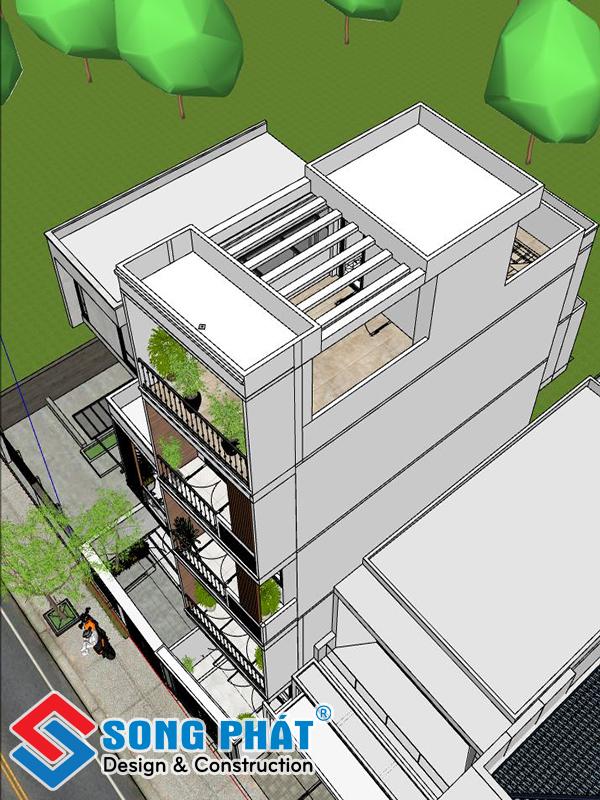 Phối cảnh 3D mặt bằng sân thượng-thiết kế nhà 1 trệt 3 lầu sân thượng 4x12m