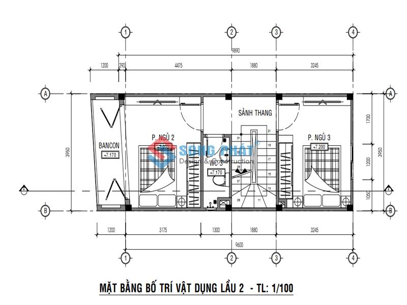Bố trí mặt bằng lầu 1 -thiết kế nhà 1 trệt 3 lầu sân thượng 4x12m
