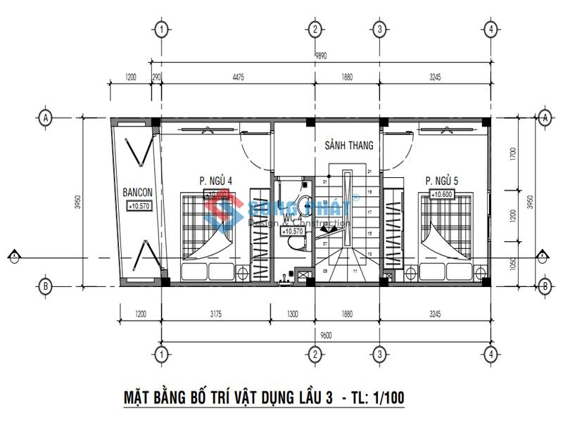 Bố trí mặt bằng lầu 3 -thiết kế nhà 1 trệt 3 lầu sân thượng 4x12m