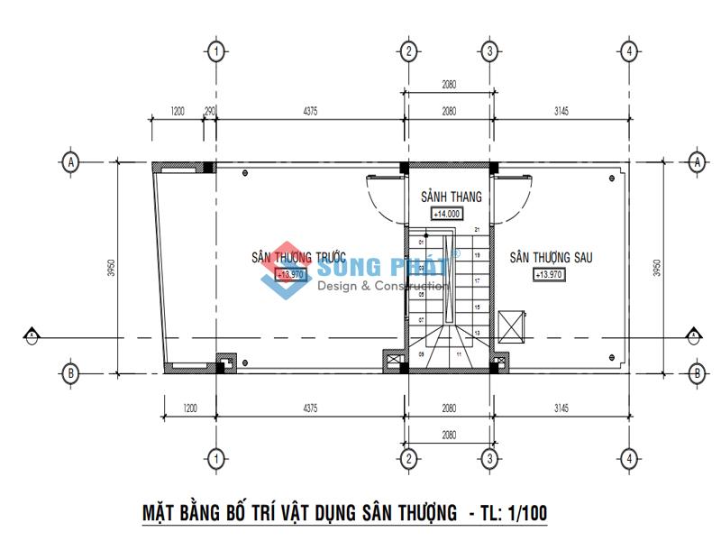 Bố trí mặt bằng sân thượng -thiết kế nhà 1 trệt 3 lầu sân thượng 4x12m