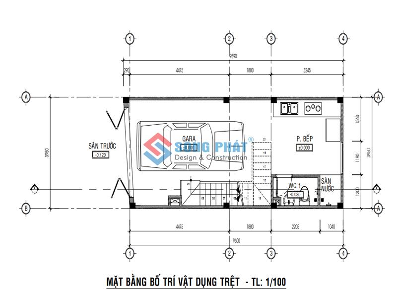Bố trí mặt bằng tầng trệt thiết kế nhà 1 trệt 3 lầu sân thượng 4x12m