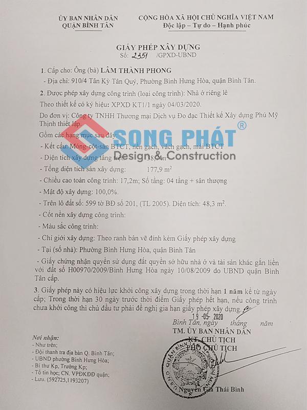Giấy phép xây dựng của khách hàng Song Phát