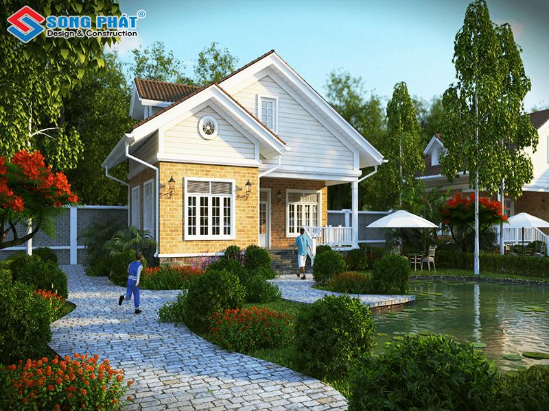 Khoảng không gian rộng, xanh tươi giúp ngôi biệt thự mini được hòa mình cùng với tự nhiên