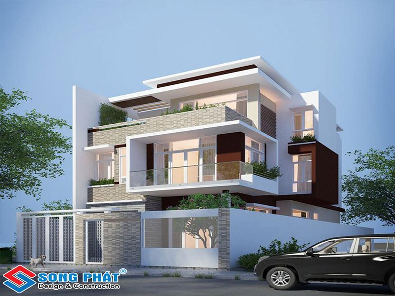 Mẫu biệt thự được thiết kế theo lối kiến trúc mạnh mẽ, hiện đại