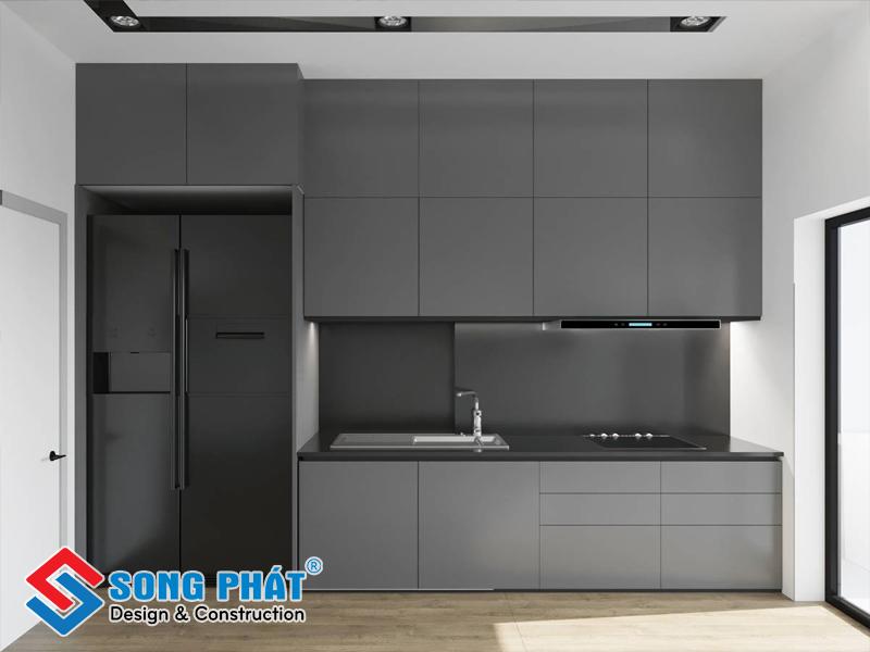 Nội thất phòng bếp cũng được thống nhất phong cách thiết kế