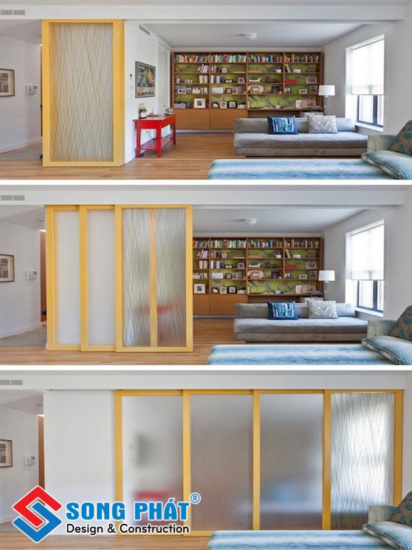 Vách ngăn trượt tiết kiệm không gian nhà nhỏ