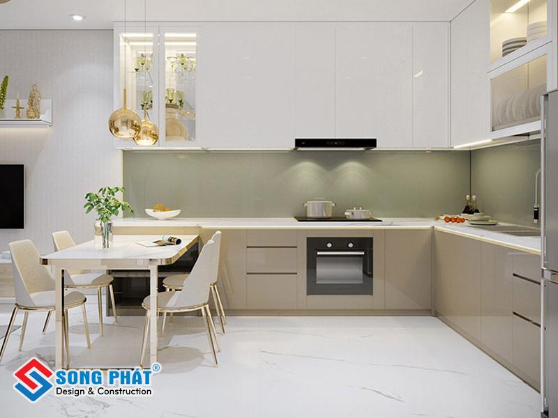 Gạch trắng bóng hoa văn nhỏ là lựa chọn tuyệt vời cho nhà bếp của bạn