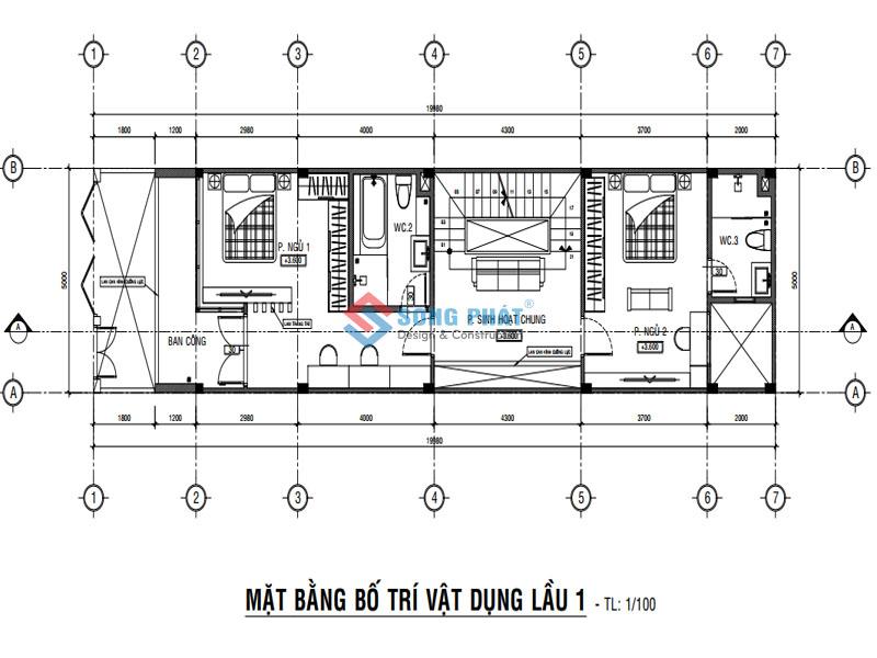 Bố trí mặt bằng lầu 1 cho mẫu nhà 1 trệt 2 lầu hiện đại