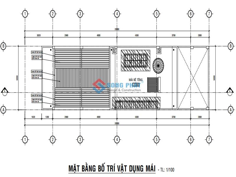 Bố trí mặt bằng mái cho mẫu nhà 1 trệt 2 lầu hiện đại