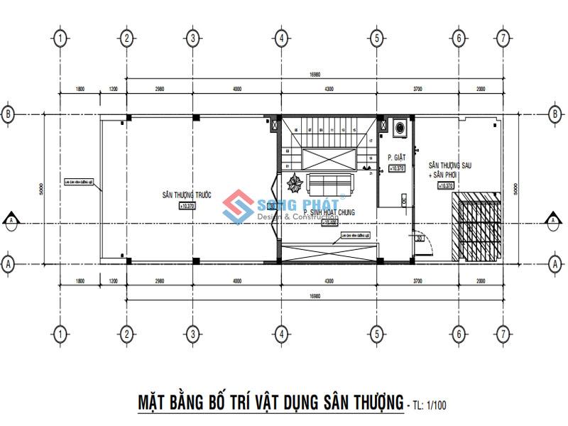 Bố trí mặt bằng sân thượng cho mẫu nhà 1 trệt 2 lầu hiện đại