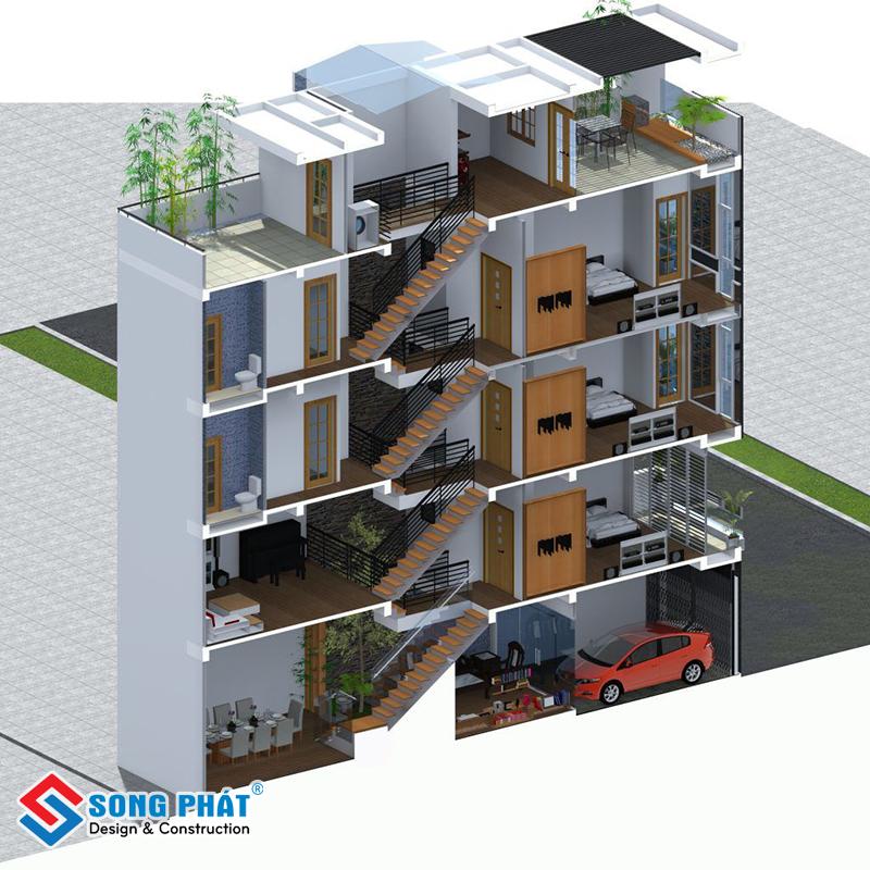Nên xây nhà lệch tầng với những mảnh đất sâu, hẹp ngang
