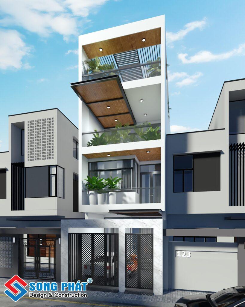 Thiết kế nhà phố 1 trệt 2 lầu mang phong cách hiện đại với sự kết hợp màu sắc hài hòa