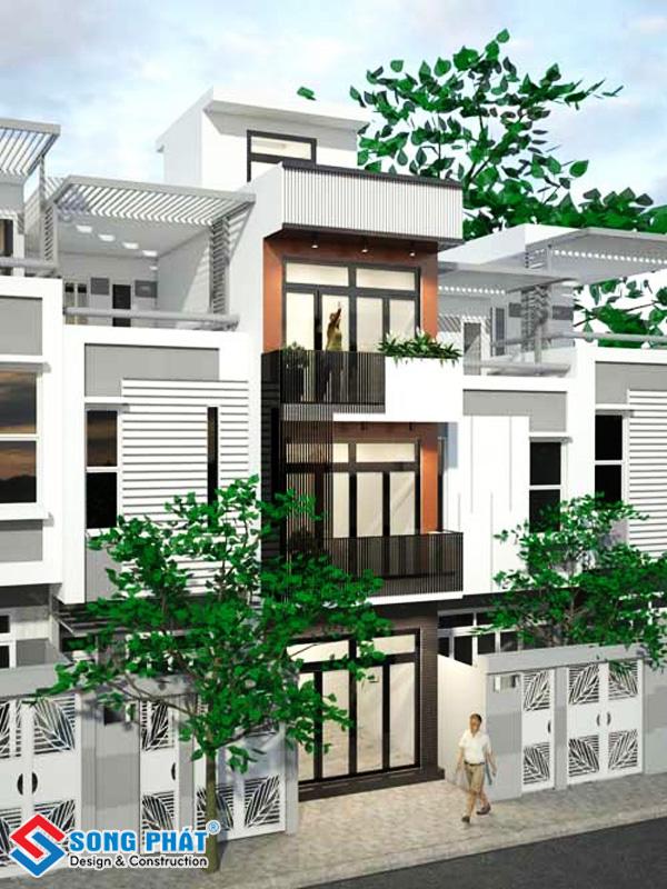 Mẫu thiết kế nhà phố 3 tầng 1 tum