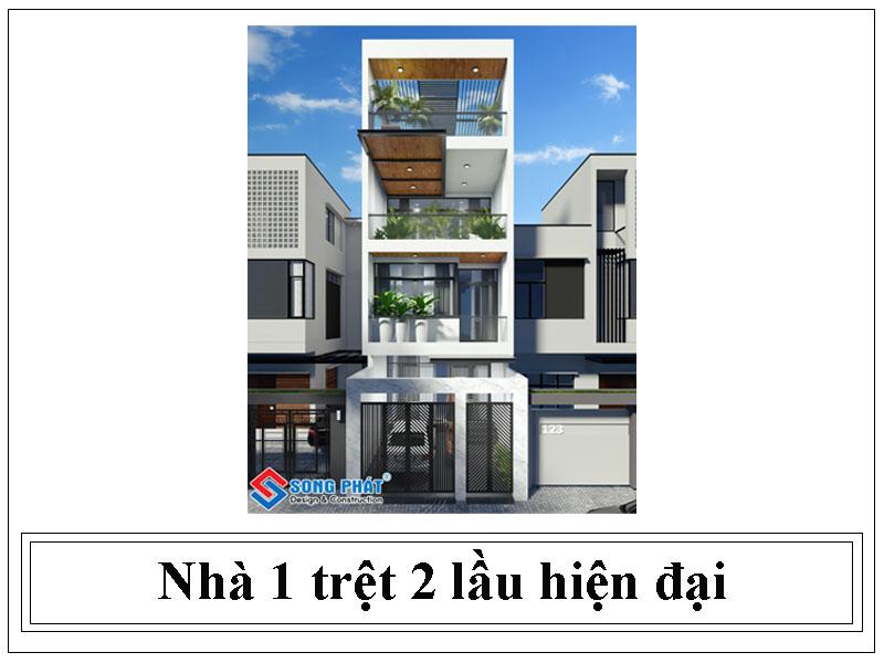 Mẫu thiết kế nhà 1 trệt 2 lầu hiện đại của chủ đầu tư anh Minh, Dĩ An - Bình Dương