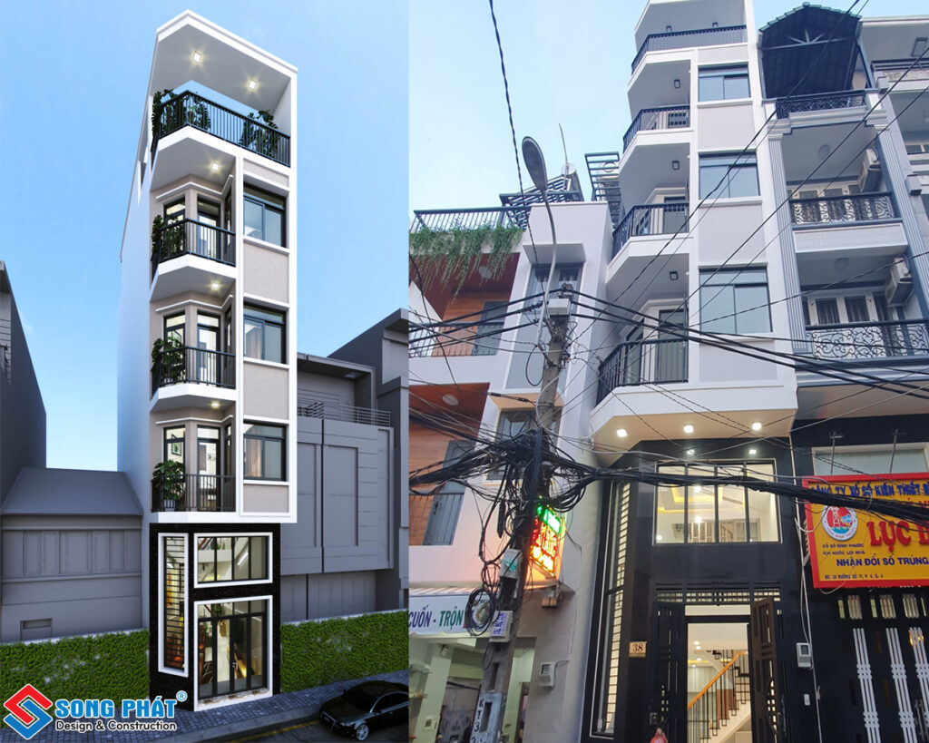 Mặt tiền nhà phố 4 tầng 1 lửng 1 sân thượng tại Quận 4.