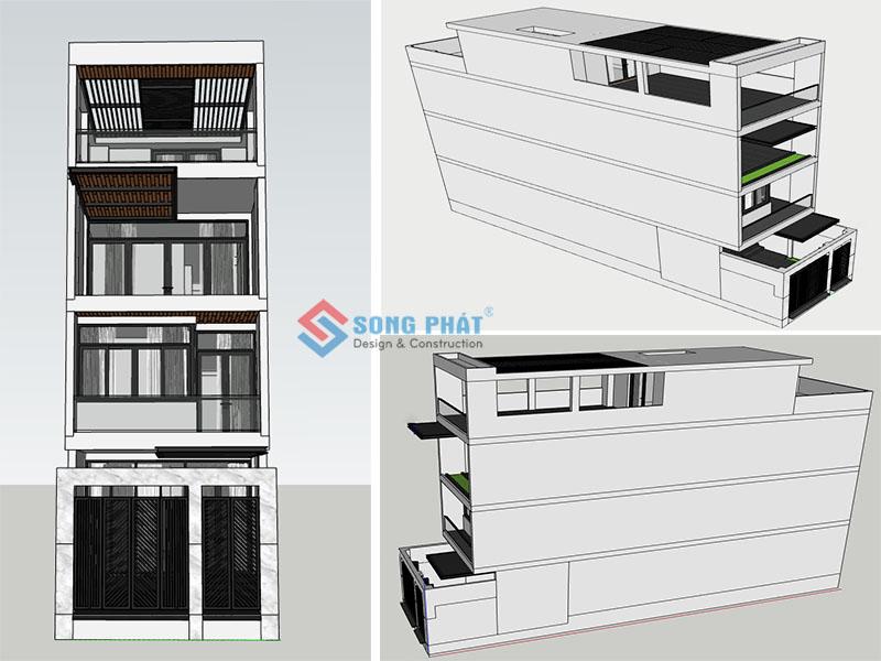 Phối cảnh 3D cho mẫu nhà phố 1 trệt 2 lầu sân thượng, nhìn ở nhiều gốc độ khác nhau