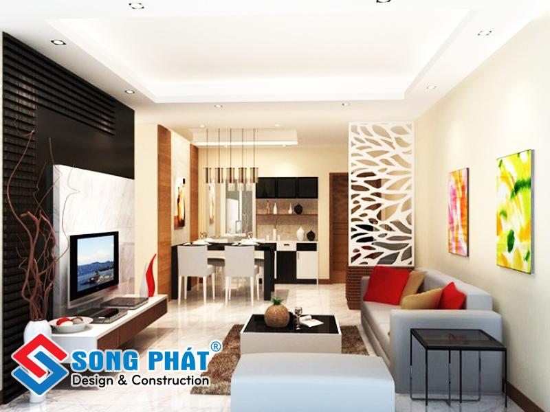 Thiết kế phòng khách liền bếp có lam gỗ và vách ngăn trang trí đẹp mắt
