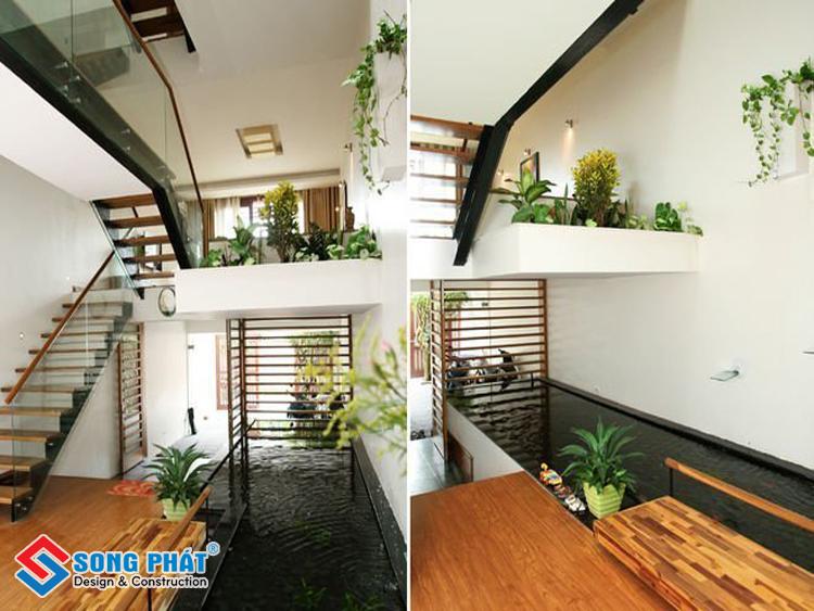 Thiết kế nhà lệch tầng đẹp tận dụng không gian tạo tiểu cảnh