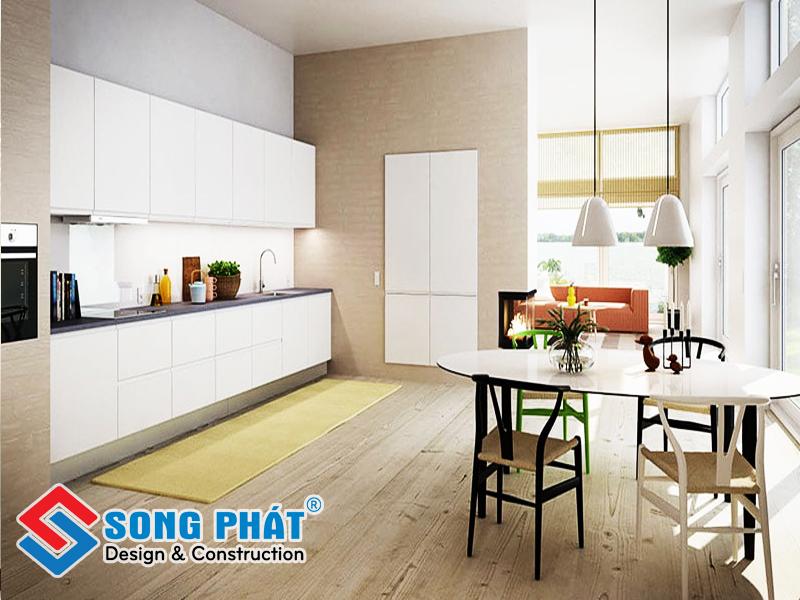 Thiết kế phòng khách liền bếp đảm bảo sự liên thông liền mạch