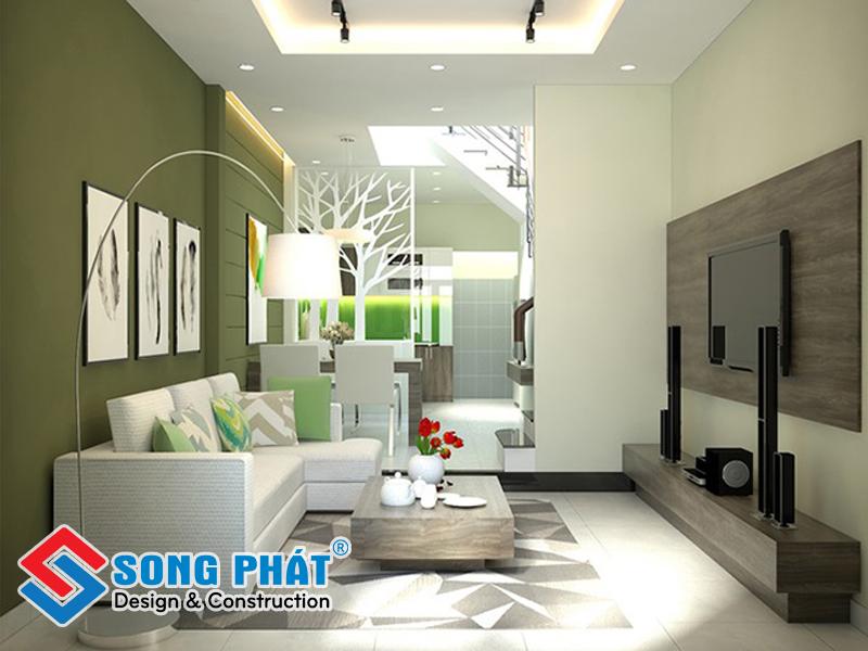 Thiết kế nội thất phòng khách liền bếp đẹp nhờ vách ngăn trang trí