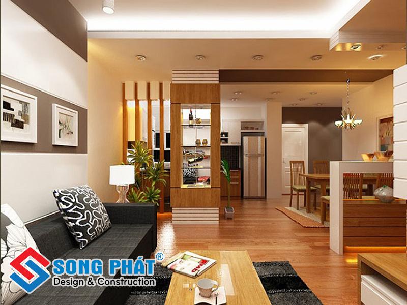 Thiết kế phòng khác liền bếp đẹp nhờ tủ trang trí sang trọng