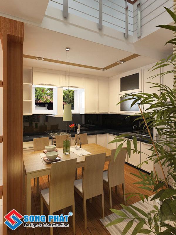 Thiết kế thông tầng khu vực phòng bếp nhà ăn