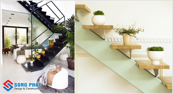 Trang trí bật cầu thang bằng cây xanh