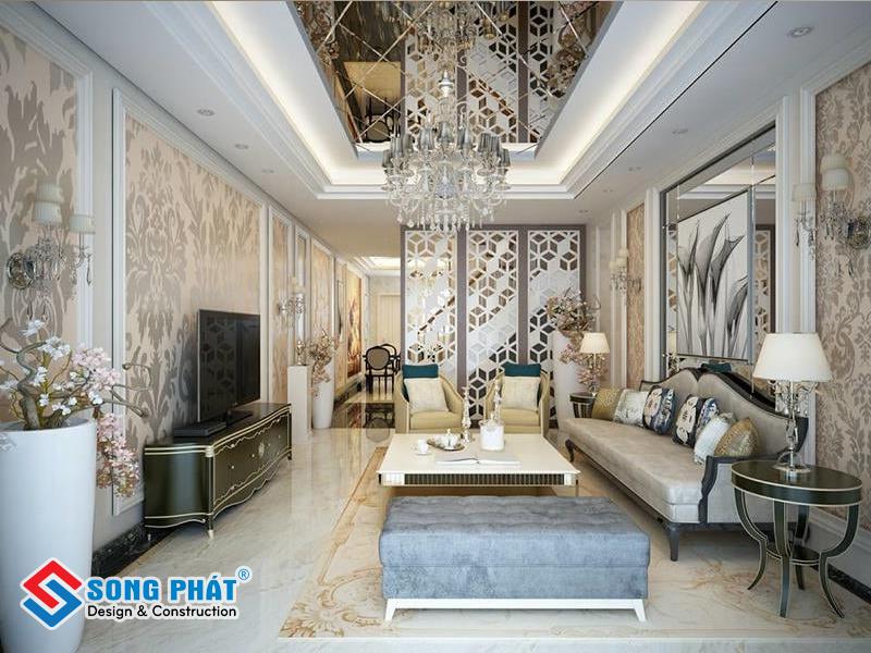 Nên dùng những loại gạch đá ốp, lát bóng loáng cho phòng khách thêm sang trọng, lịch sự