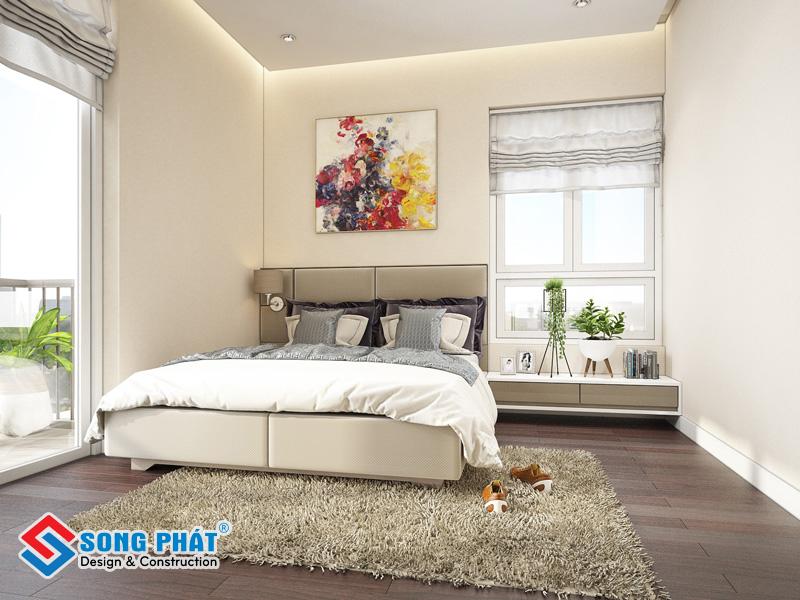 Hoặc sử dụng gạch giả gỗ đang là xu hướng cho phòng ngủ đẹp