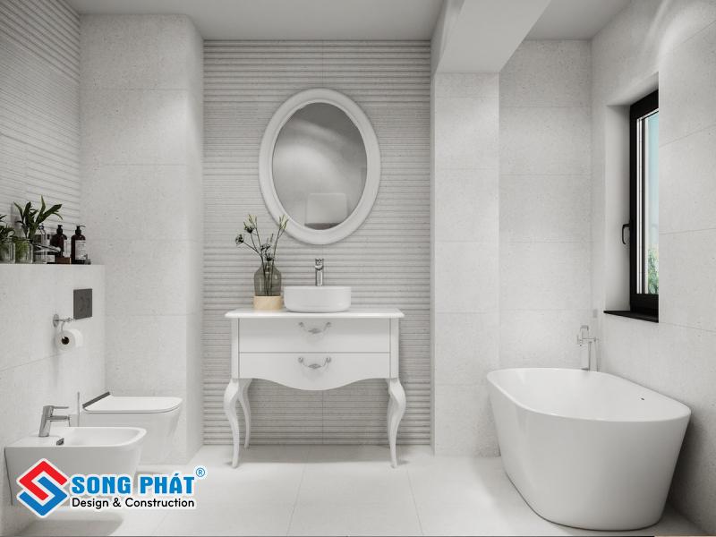 Gạch trắng giúp không gian phòng tắm trở nên thông thoáng, dễ chịu