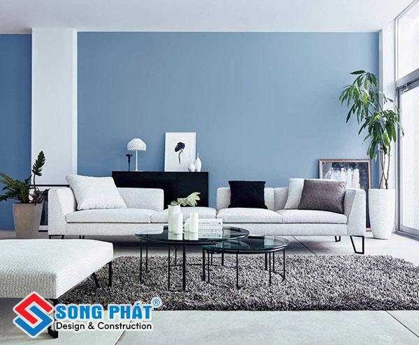 Chọn màu sơn tone lạnh giúp phòng khách thêm trang trọng, lịch thiệp